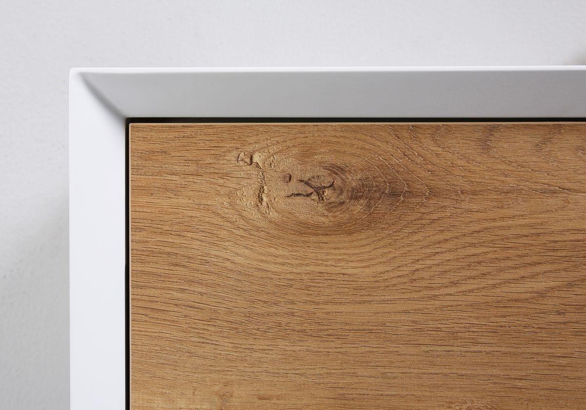 Badmöbel Fiona 1200 Weiß matt - Front Beton- oder Eiche-Optik - Seitenschrank, Waschbecken und Spiegel optional – Bild 4