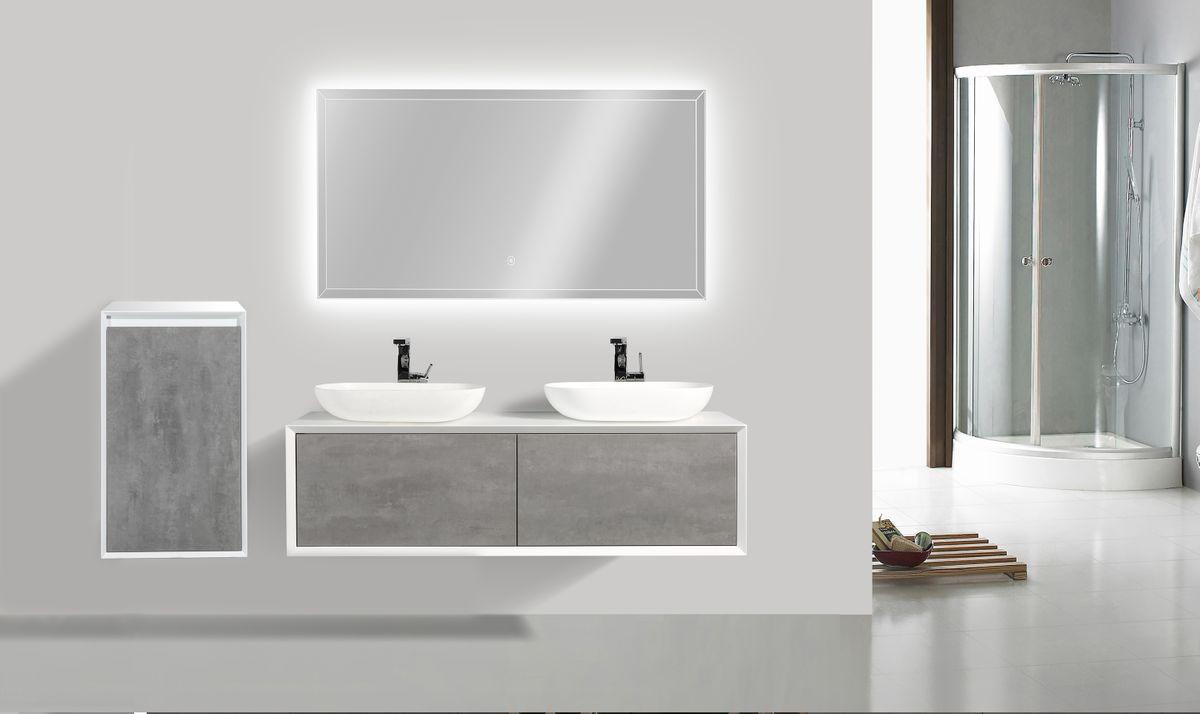 Meuble de salle de bain Fiona 1400 - façade effet béton ou chêne - miroir et colonne de rangement en option – Bild 2