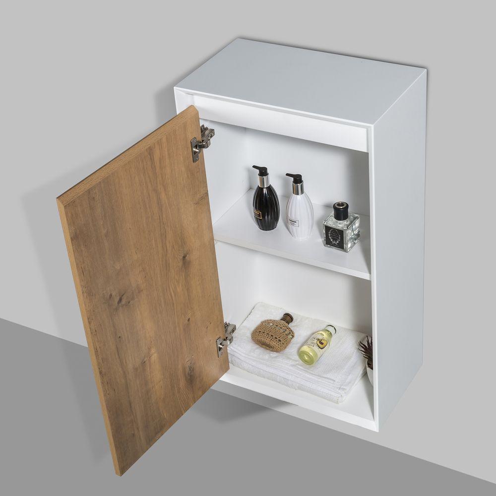Meuble de salle de bain Fiona 1400 - façade effet béton ou chêne - miroir et colonne de rangement en option – Bild 6