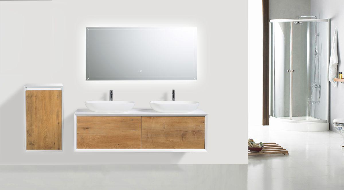 Meuble de salle de bain Fiona 1400 - façade effet béton ou chêne - miroir et colonne de rangement en option – Bild 1