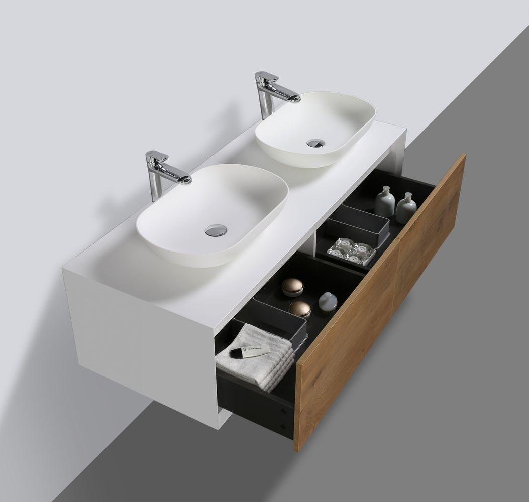 Meuble de salle de bain Fiona 1400 - façade effet béton ou chêne - miroir et colonne de rangement en option – Bild 4