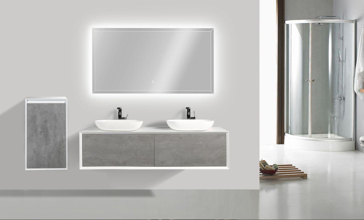 Badmöbel Fiona 1600 Weiß matt - in Eiche-Optik oder Beton-Optik - Seitenschrank, Waschbecken und Spiegel optional – Bild 2