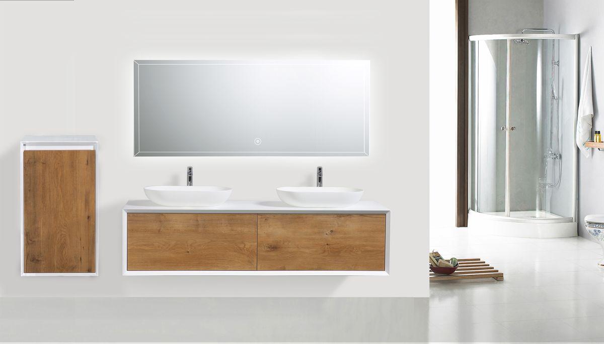 Badmöbel Fiona 1600 Weiß matt - Front Beton- oder Eiche-Optik - Seitenschrank, Waschbecken und Spiegel optional – Bild 1