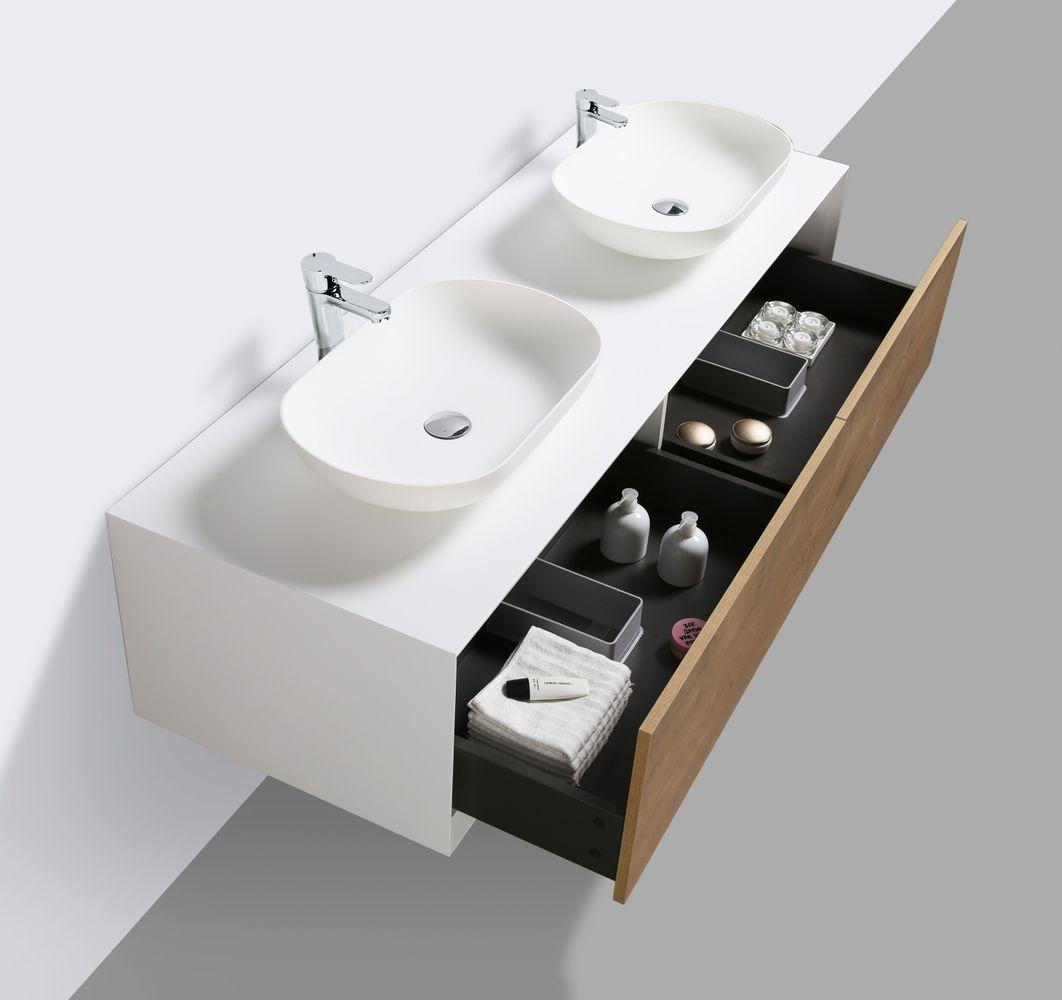 Badmöbel Fiona 1600 Weiß matt - Front Beton- oder Eiche-Optik - Seitenschrank, Waschbecken und Spiegel optional – Bild 4