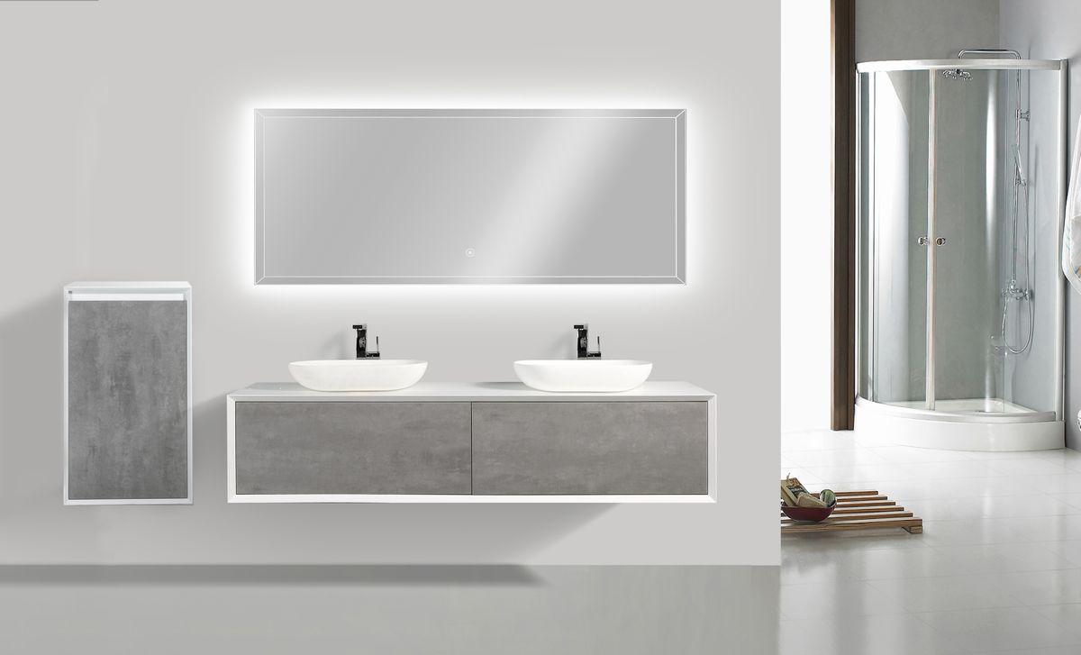 Badmöbel Fiona 1800 Weiß matt - in Eiche-Optik oder Beton-Optik - Seitenschrank, Waschbecken und Spiegel optional – Bild 2