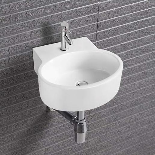 Wandwaschbecken aus Keramik KW209 für Gäste-WC - 34,5 x 33 x 12 cm - Weiß glänzend – Bild 1