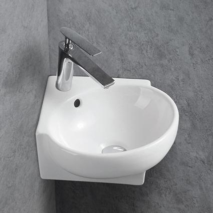 Wandwaschbecken aus Keramik KW198A für Gäste-WC - 39,5 x 36,5 x 14 cm - Weiß glänzend