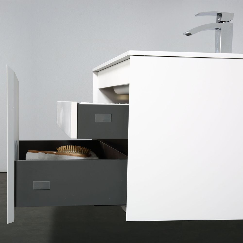 Bathroom Furniture set Luna 600 - available in different colours - optional wall mounted side cabinet and mirror – Bild 24