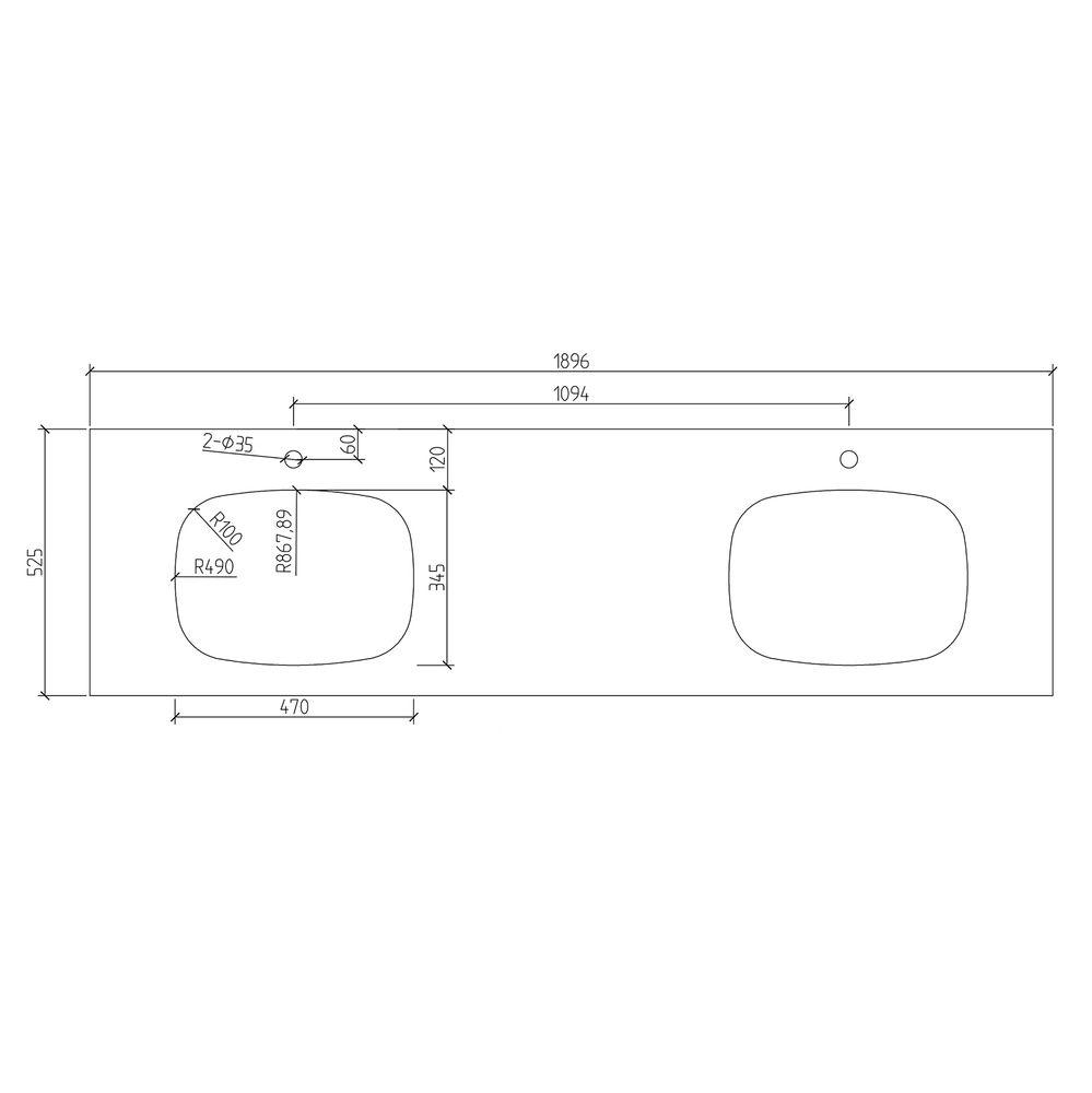Einbauwaschbecken INALCO aus Keramik - 50 x 39 x 15 cm - Aufsatzwaschbecken Weiß glänzend – Bild 7