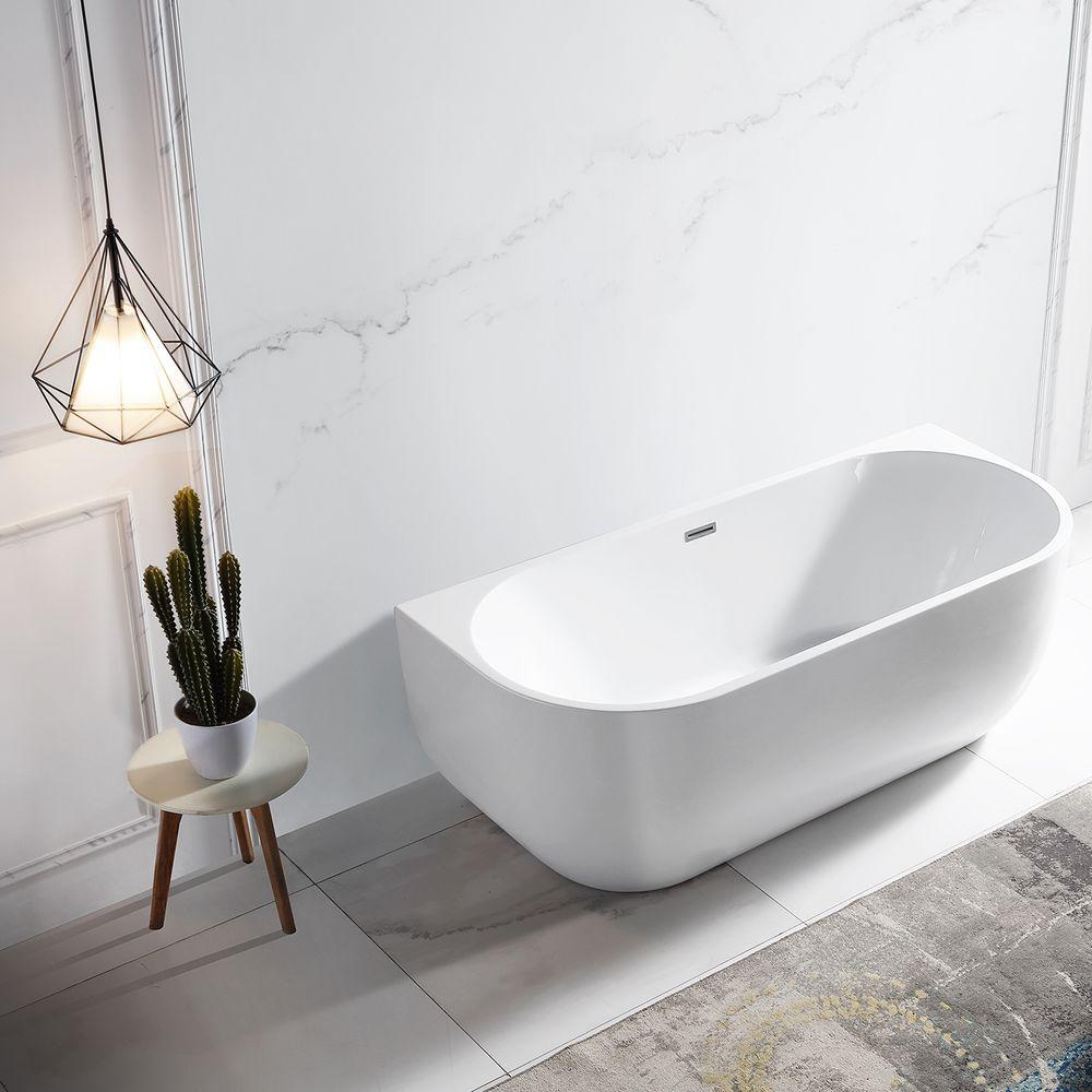 Freistehende Raumsparbadewanne LENA Acryl Weiß glänzend - 170 x 75 cm - Standarmatur wählbar – Bild 2