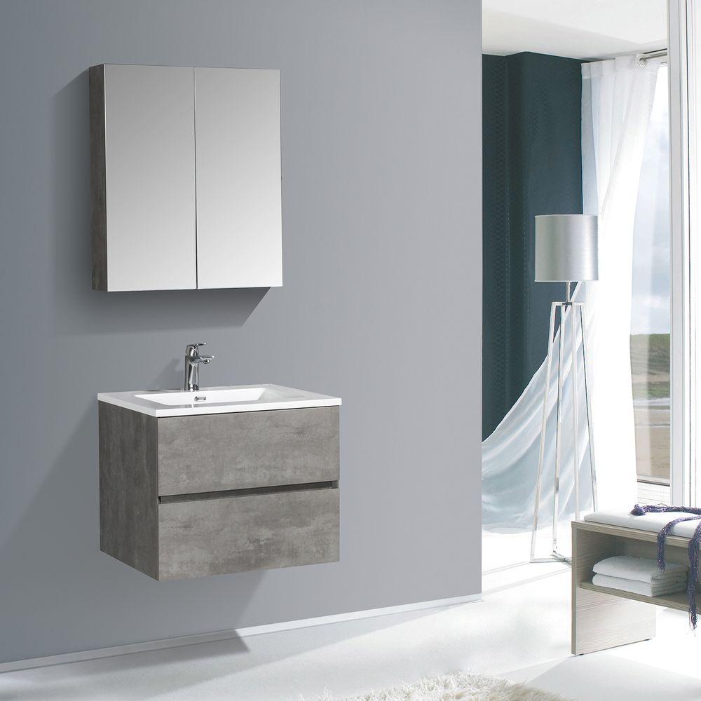 Badmöbel-Set EDGE 650 - Farbe wählbar - Spiegel & Seitenschrank optional – Bild 3