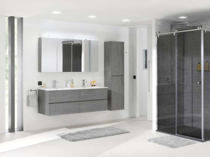 Badmöbel-Set EDGE 750 - Farbe wählbar - Spiegel & Seitenschrank optional – Bild 19