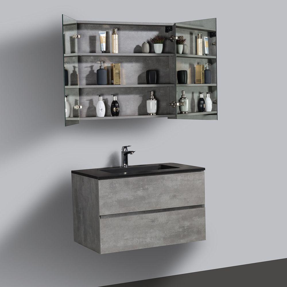 Badmöbel-Set EDGE 750 - Farbe wählbar - Spiegel & Seitenschrank optional – Bild 13