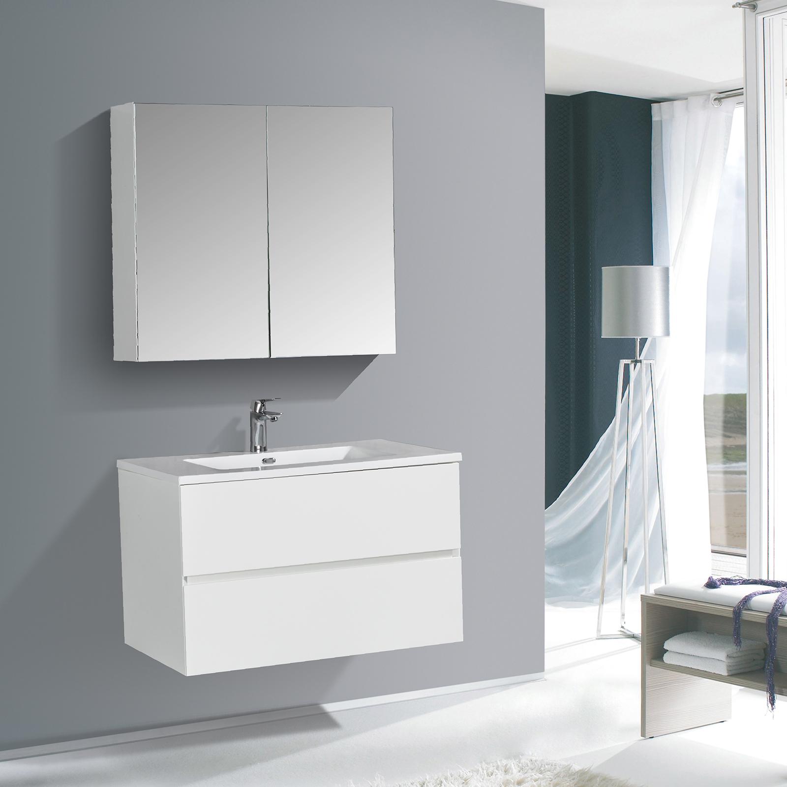 Badmöbel-Set EDGE 850 - Farbe wählbar - Spiegel & Seitenschrank optional
