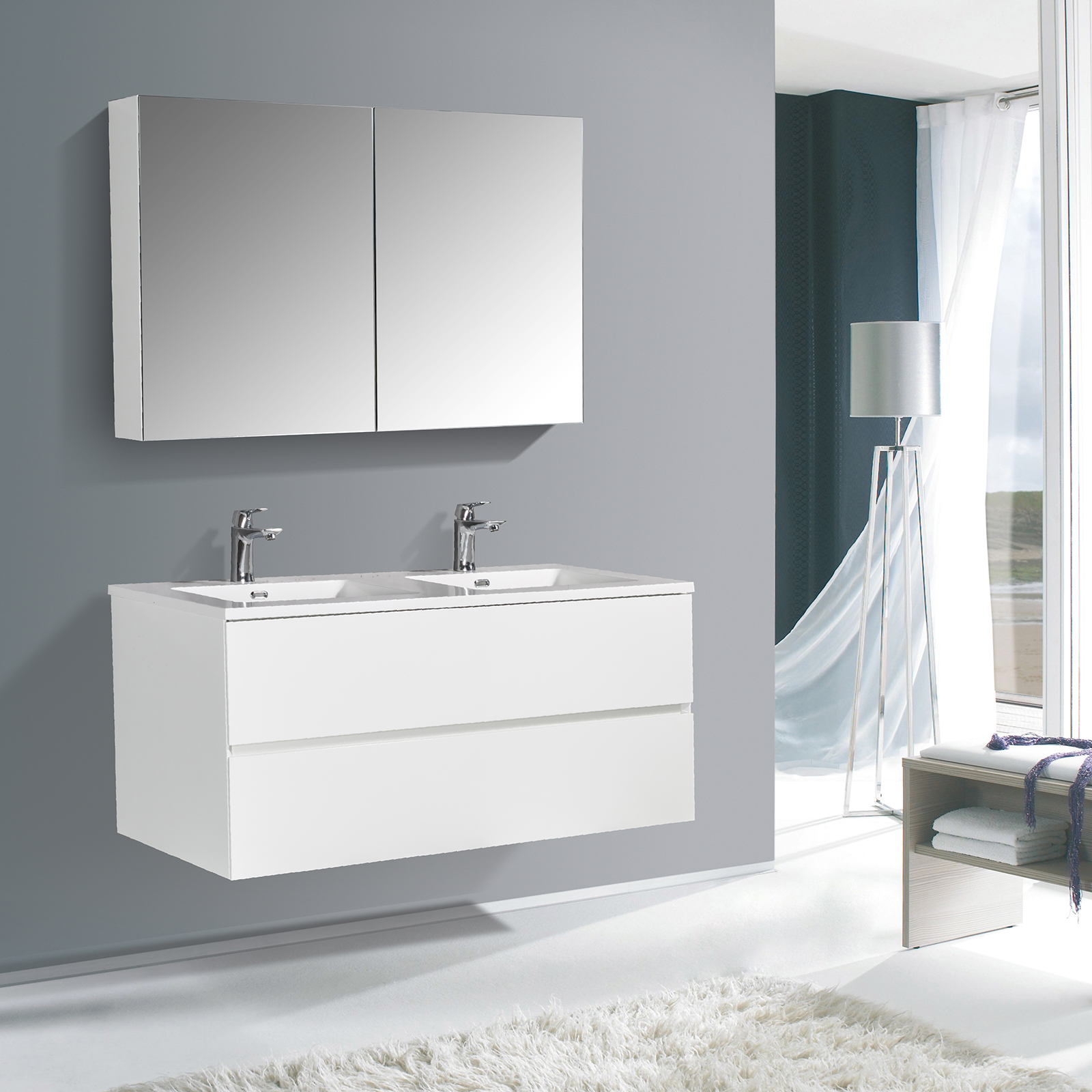 Bathroom Furniture Set EDGE 1200 - available in different colours - optional mirror cabinet and Storage Unit