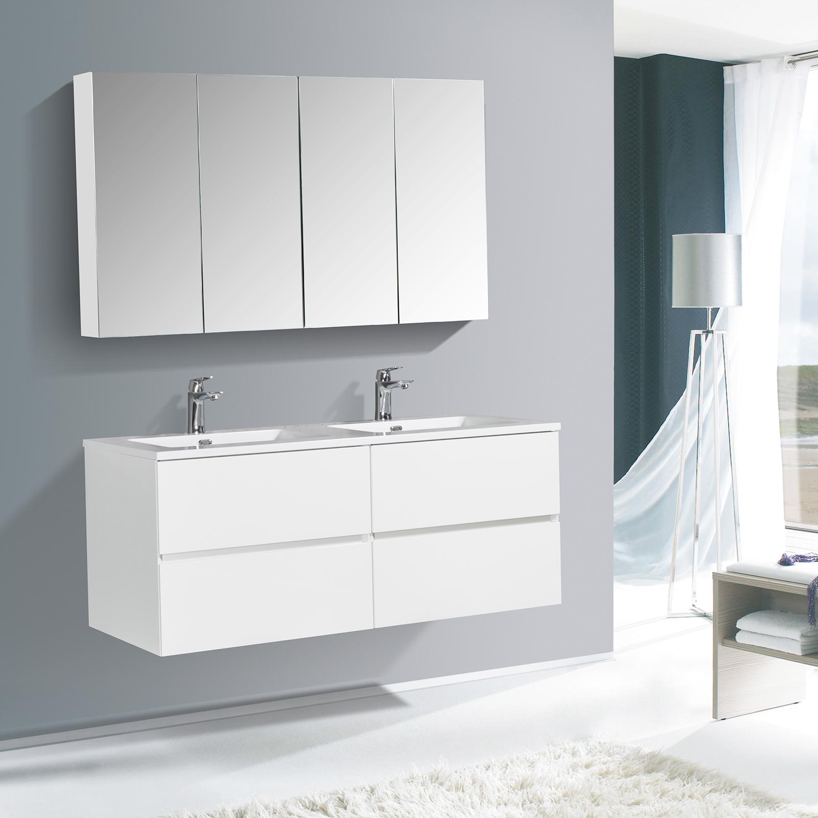 Badmöbel-Set EDGE 1300 - Farbe wählbar - Spiegel & Seitenschrank optional
