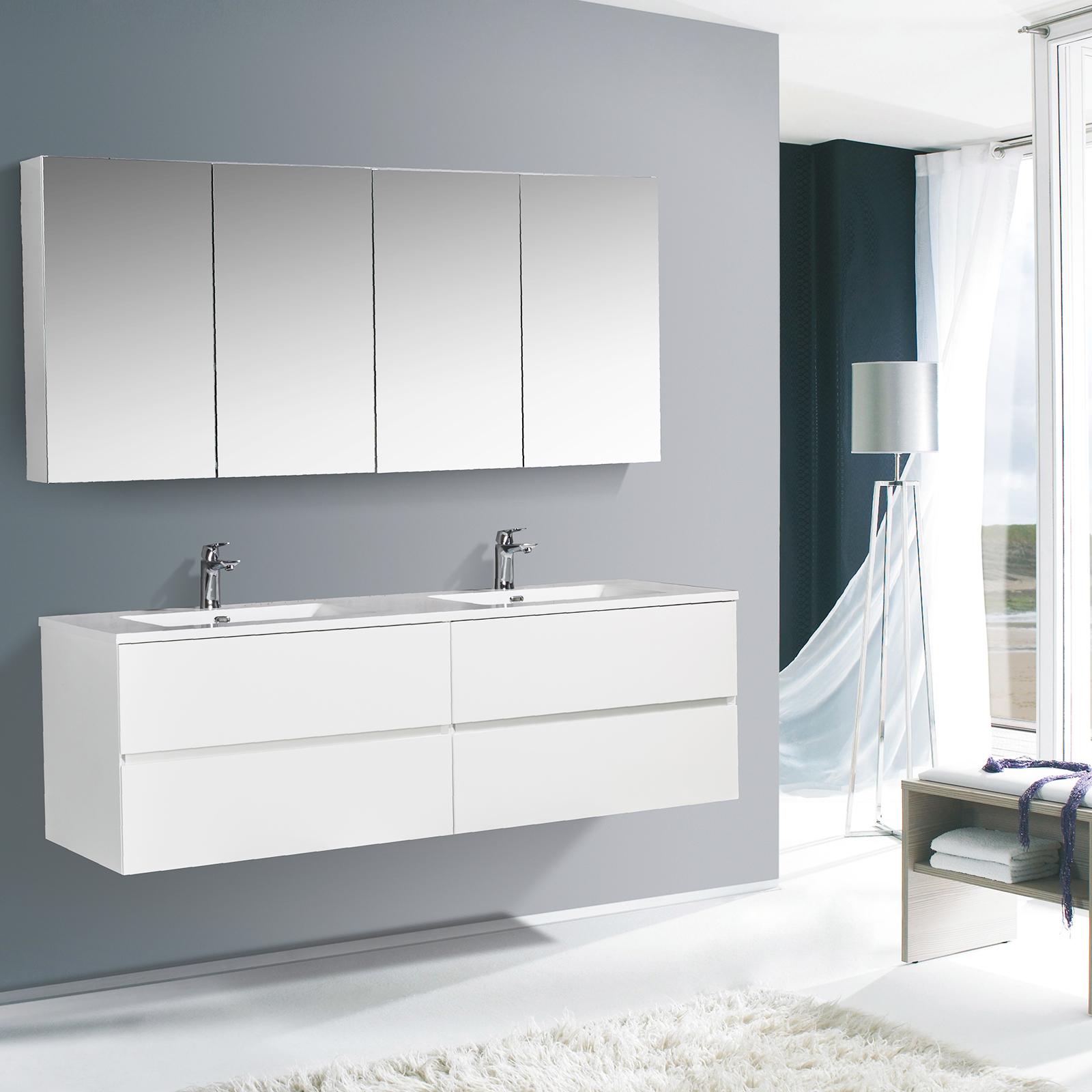 Badmöbel-Set EDGE 1700 - Farbe wählbar - Spiegel & Seitenschrank optional
