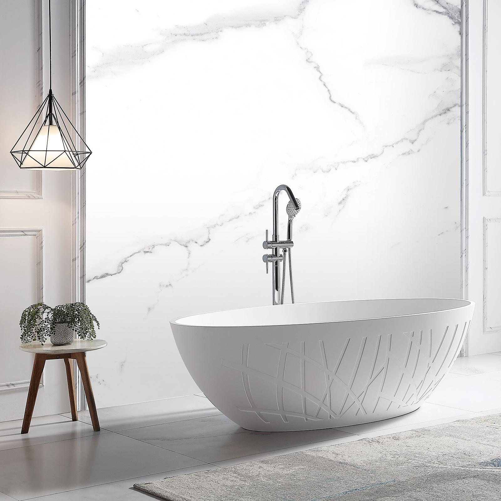 Freistehende Design Badewanne aus Mineralguss LEO Weiß matt - 180 x 85 x 52 cm - inkl. Standarmatur NT6982