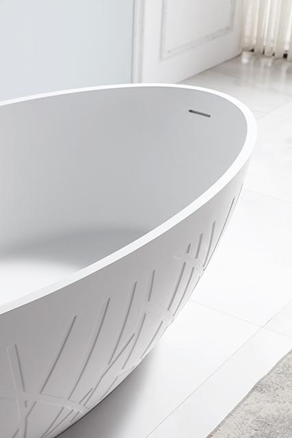 Freistehende Design Badewanne aus Mineralguss LEO Weiß matt - 180 x 85 x 52 cm - inkl. Standarmatur NT6982 – Bild 5