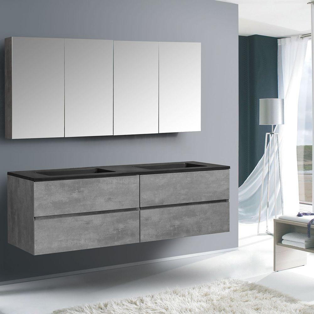 Badmöbel-Set EDGE 1500 - Farbe wählbar - Spiegel & Seitenschrank optional – Bild 4