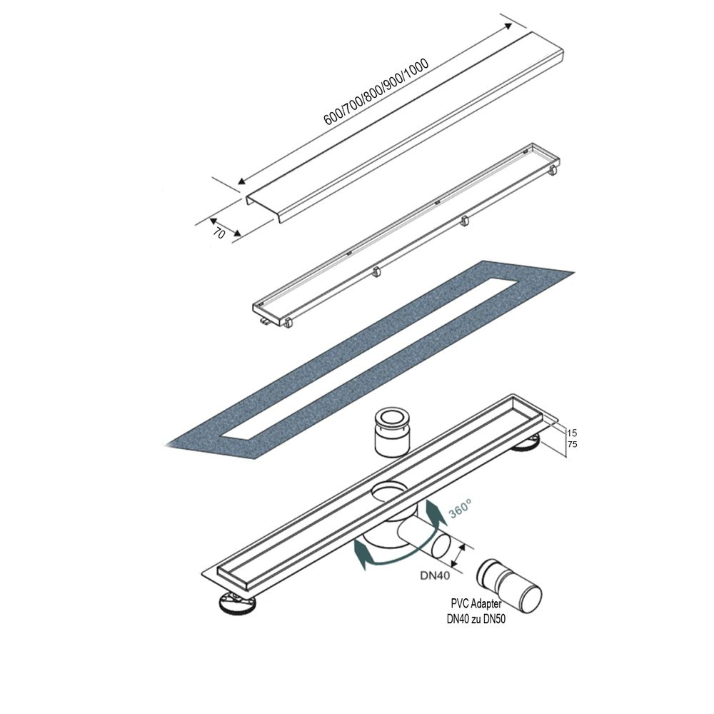 Black Stainless Steel Linear Shower Drain - FlexGTB02  - Available in different sizes  – Bild 4