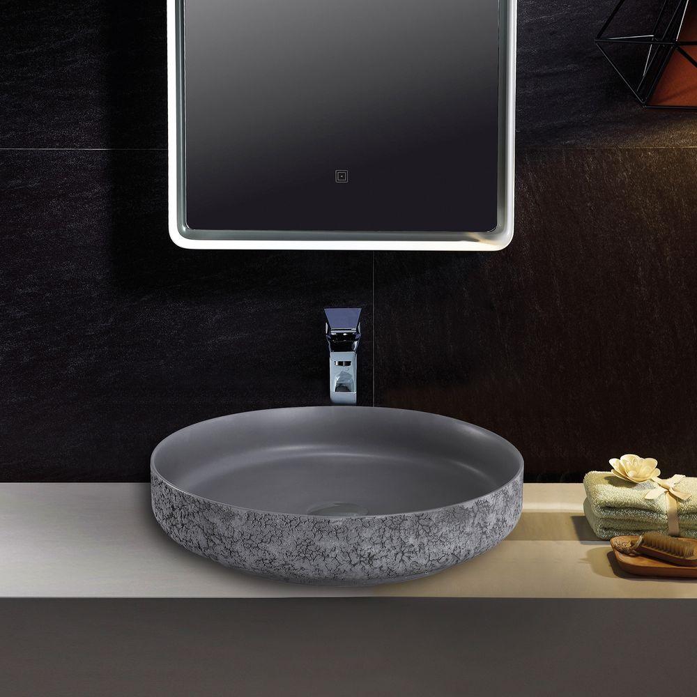 Countertop Washbasin NT2420 of mineral cast Pure acrylic - Matt Concrete Effect  - 45 x 45 x 10 cm – Bild 2
