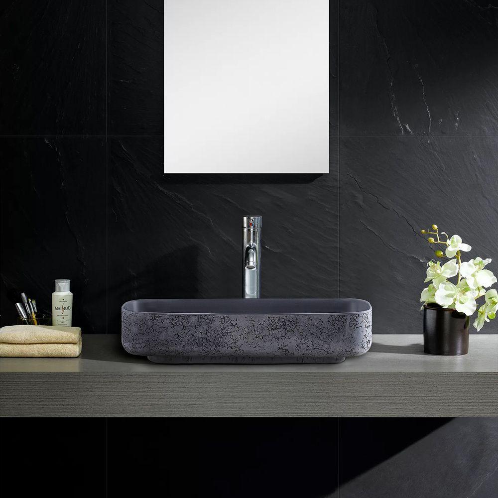 Countertop Washbasin NT2524 of mineral cast Pure acrylic - Matt Concrete Effect - 50 x 42 x 10 cm – Bild 2