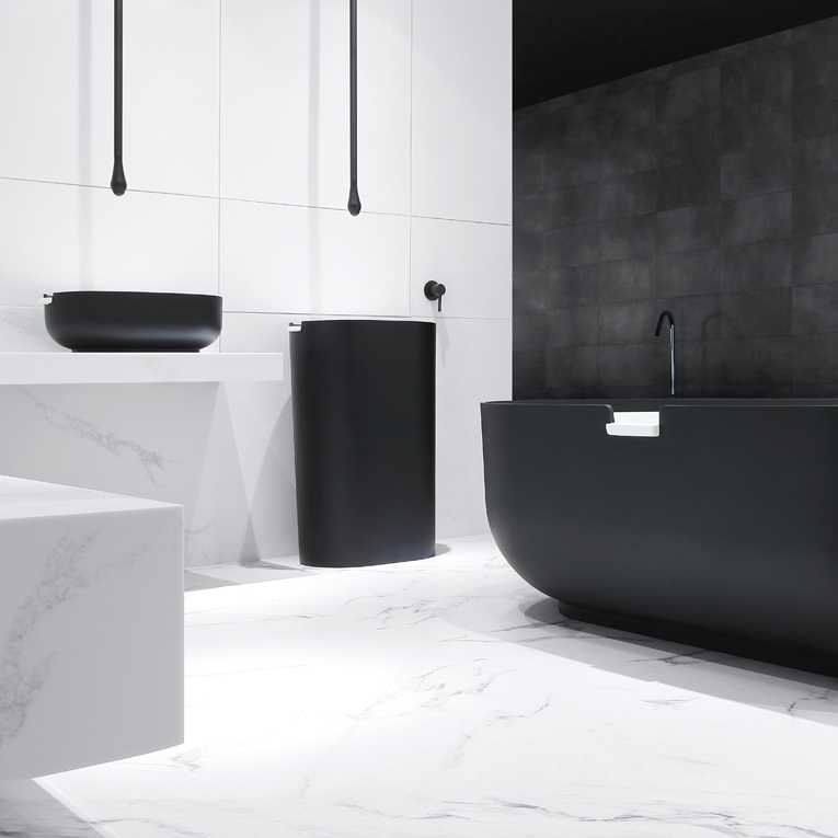 Ceiling Mounted Washbasin Tap DROP 135 - Lenght 135 cm - Available in Matt Black or Chrome – Bild 4