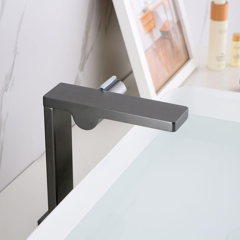 Design Waschtischarmatur Badarmatur NT3220G - Hoher Auslauf - Wasserhahn Farbe Gunmetal – Bild 5