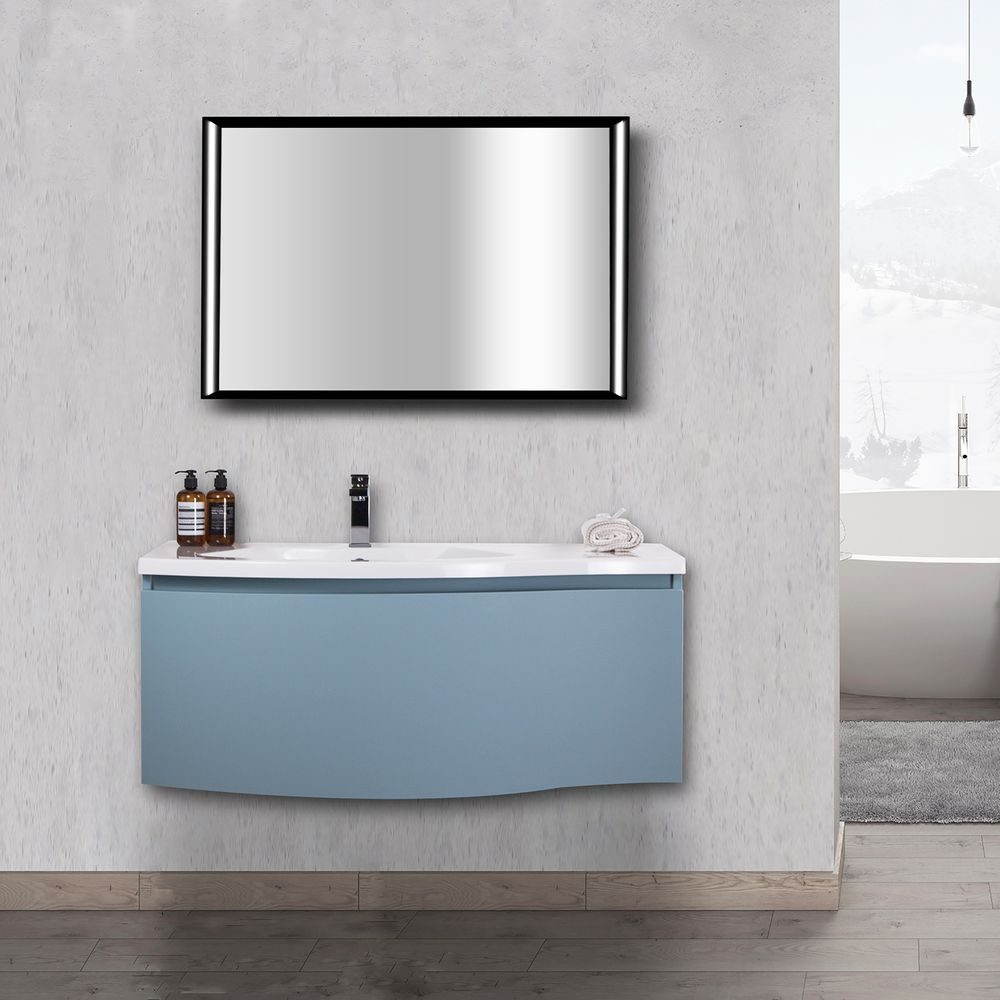 Badmöbel-Set Lena 1000 Taubenblau matt - Spiegel optional – Bild 1