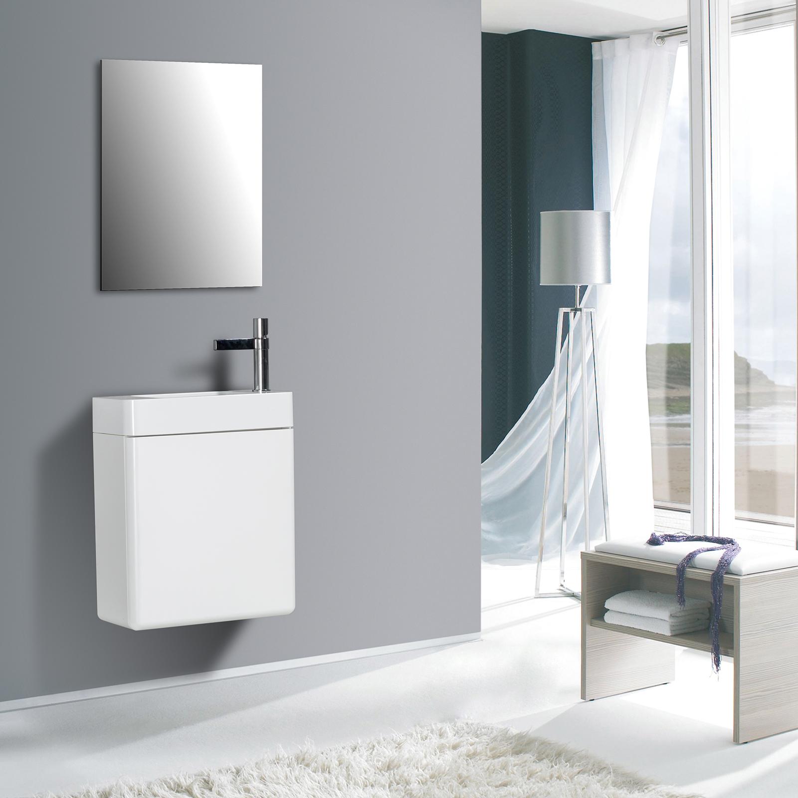 Badmöbel-Set CARO 450 für Gäste-WC - Farbe wählbar - Spiegel optional