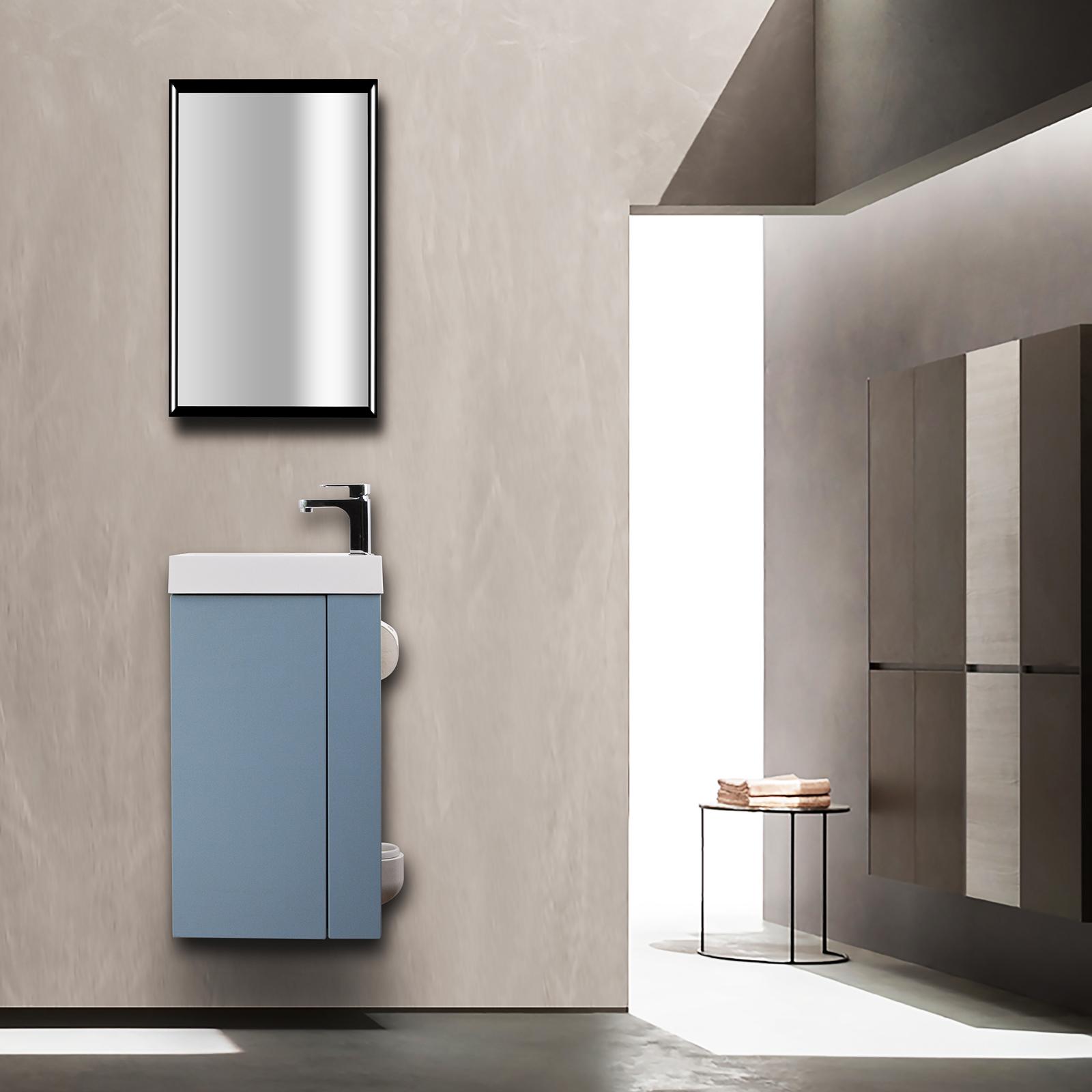 Badmöbel-Set Compact 400 für Gäste-WC - Richtung wählbar - Taubenblau matt