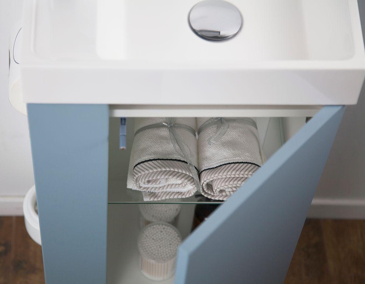 Badmöbel-Set Compact 400 für Gäste-WC - Richtung wählbar - Taubenblau matt – Bild 7
