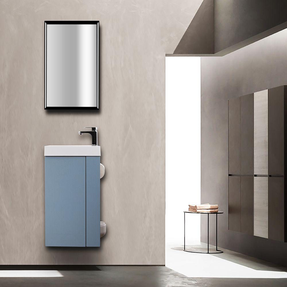 Badmöbel-Set Compact 400 für Gäste-WC - Richtung wählbar - Taubenblau matt – Bild 1