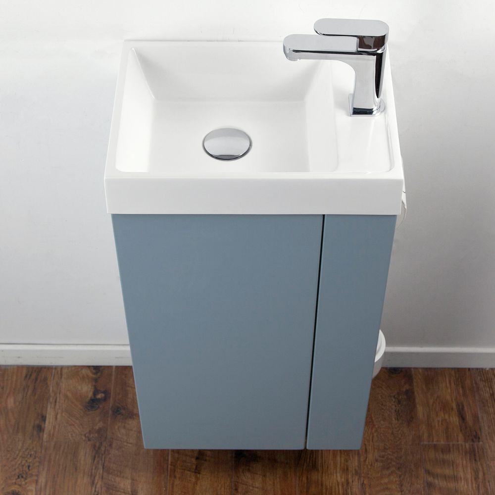 Badmöbel-Set Compact 400 für Gäste-WC - Richtung wählbar - Taubenblau matt – Bild 4