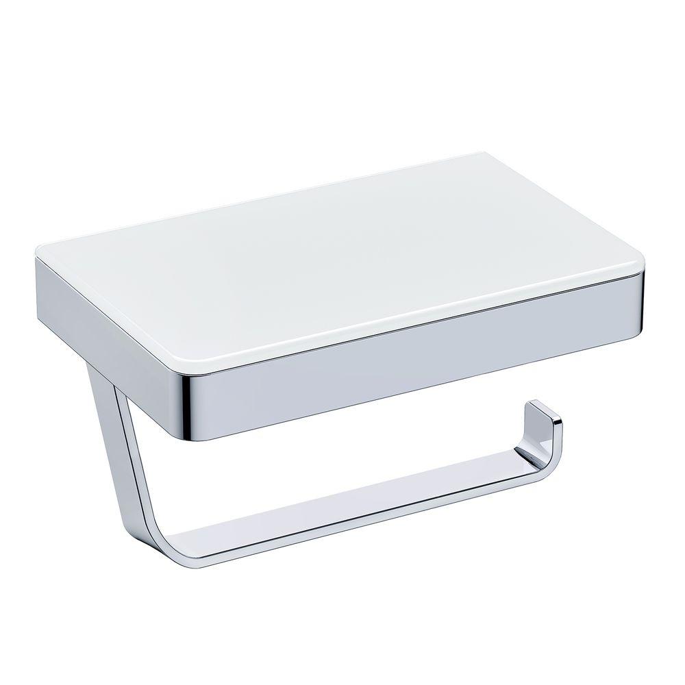 BERNSTEIN Toilettenpapierhalter G501 Edelstahl - mit Ablage aus Glas – Bild 1