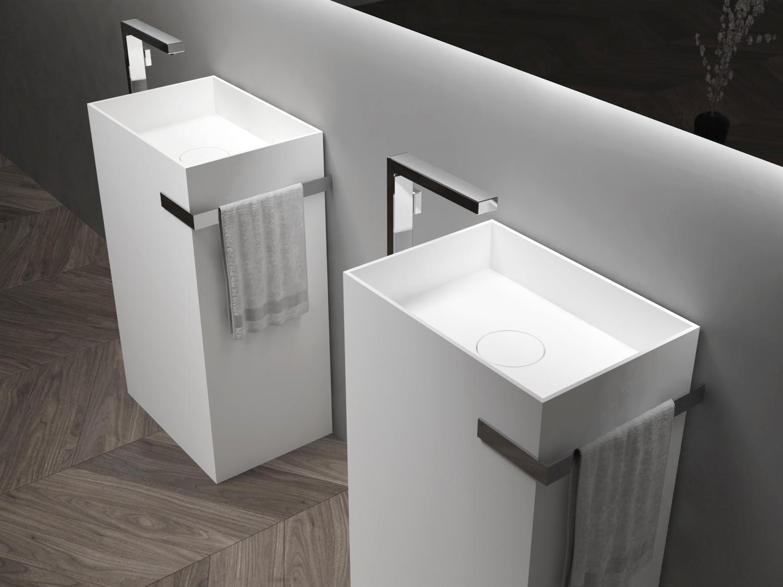 Standwaschbecken aus Mineralguss TWZ312 - 50 x 35 x 85 cm - Farbe wählbar