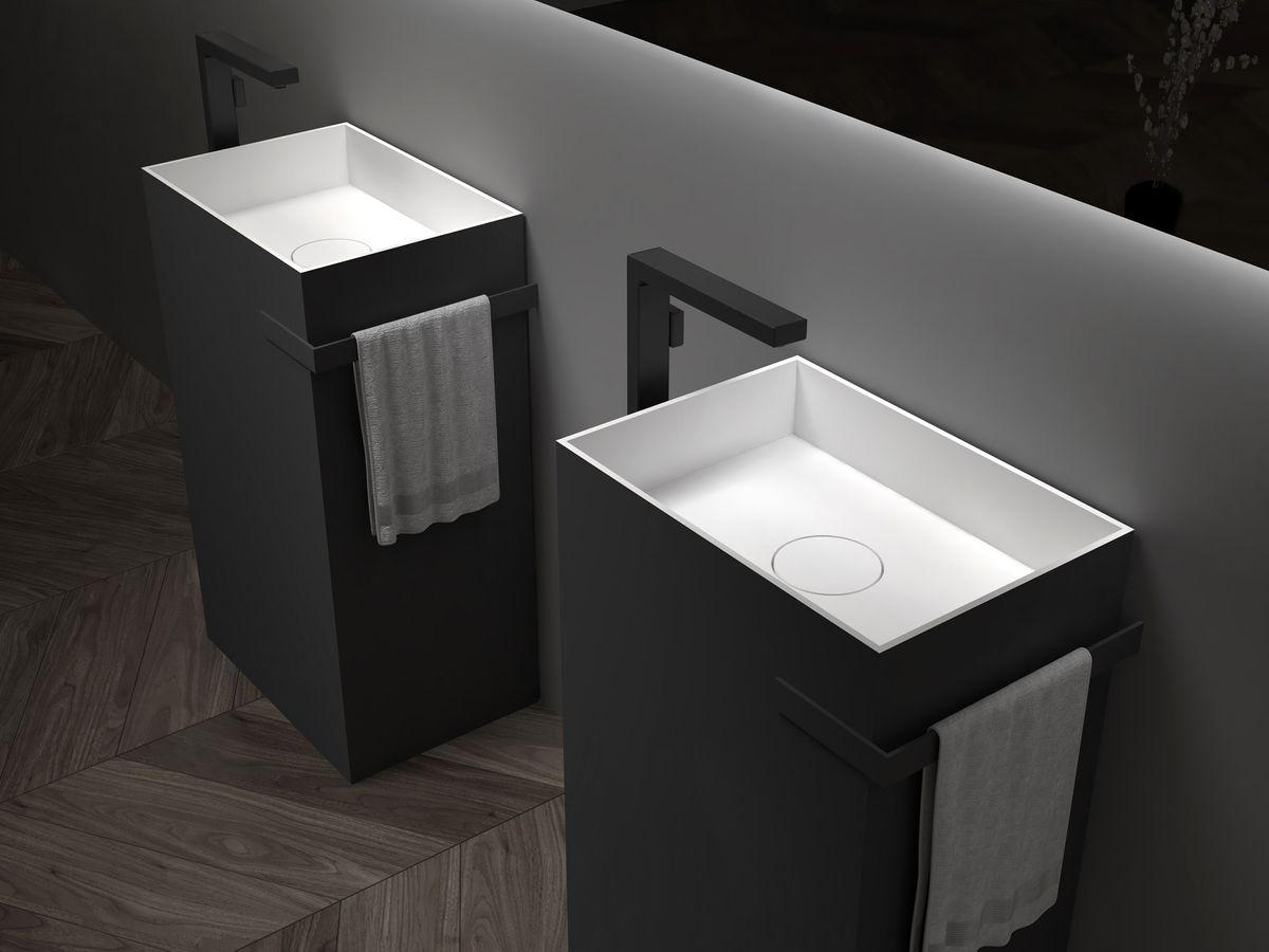 Standwaschbecken aus Mineralguss TWZ312 - 50 x 35 x 85 cm - Farbe wählbar – Bild 2
