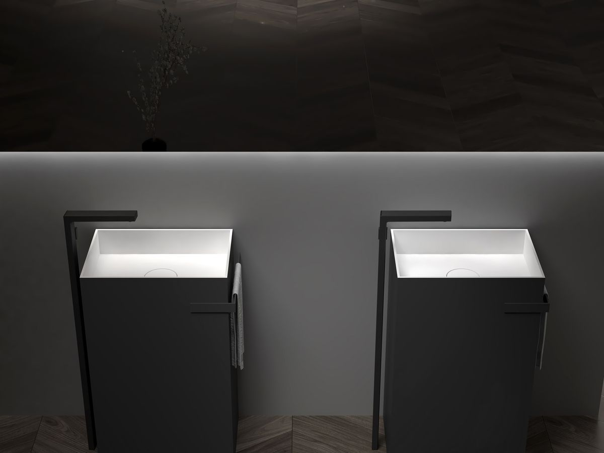 Freestanding Washbasin with Integrated Towel Rack - TWZ312 - Solid Stone - 50 x 35 x 85 cm - available in different colours – Bild 3
