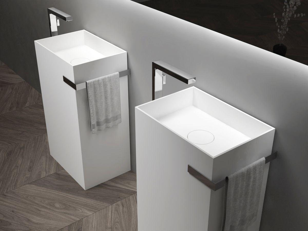 Standwaschbecken aus Mineralguss TWZ312 - 50 x 35 x 85 cm - Farbe wählbar – Bild 1