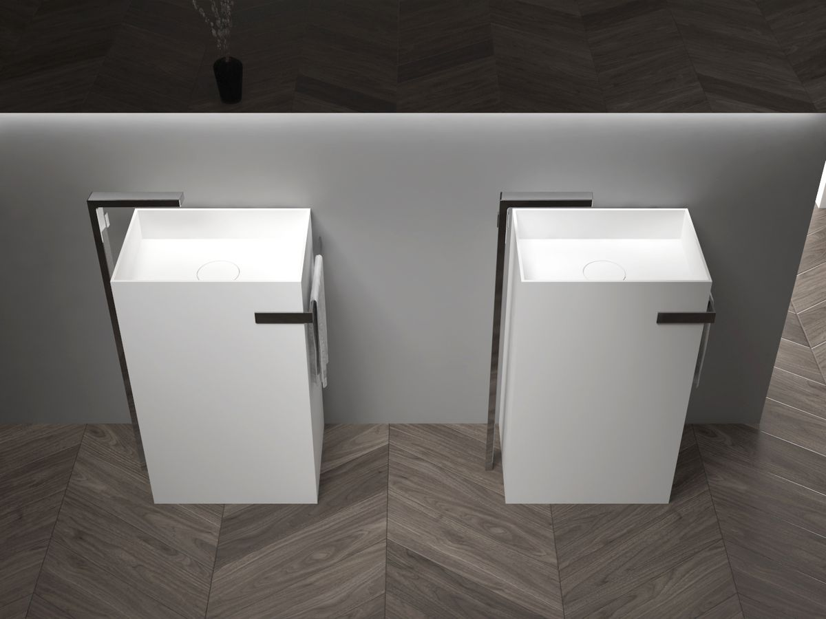 Freestanding Washbasin with Integrated Towel Rack - TWZ312 - Solid Stone - 50 x 35 x 85 cm - available in different colours – Bild 6