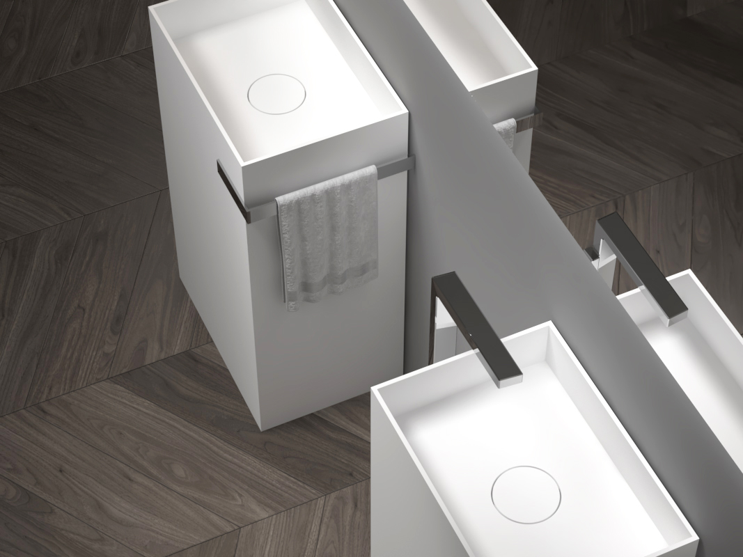 Standwaschbecken aus Mineralguss TWZ312 - 50 x 35 x 85 cm - Farbe wählbar – Bild 7