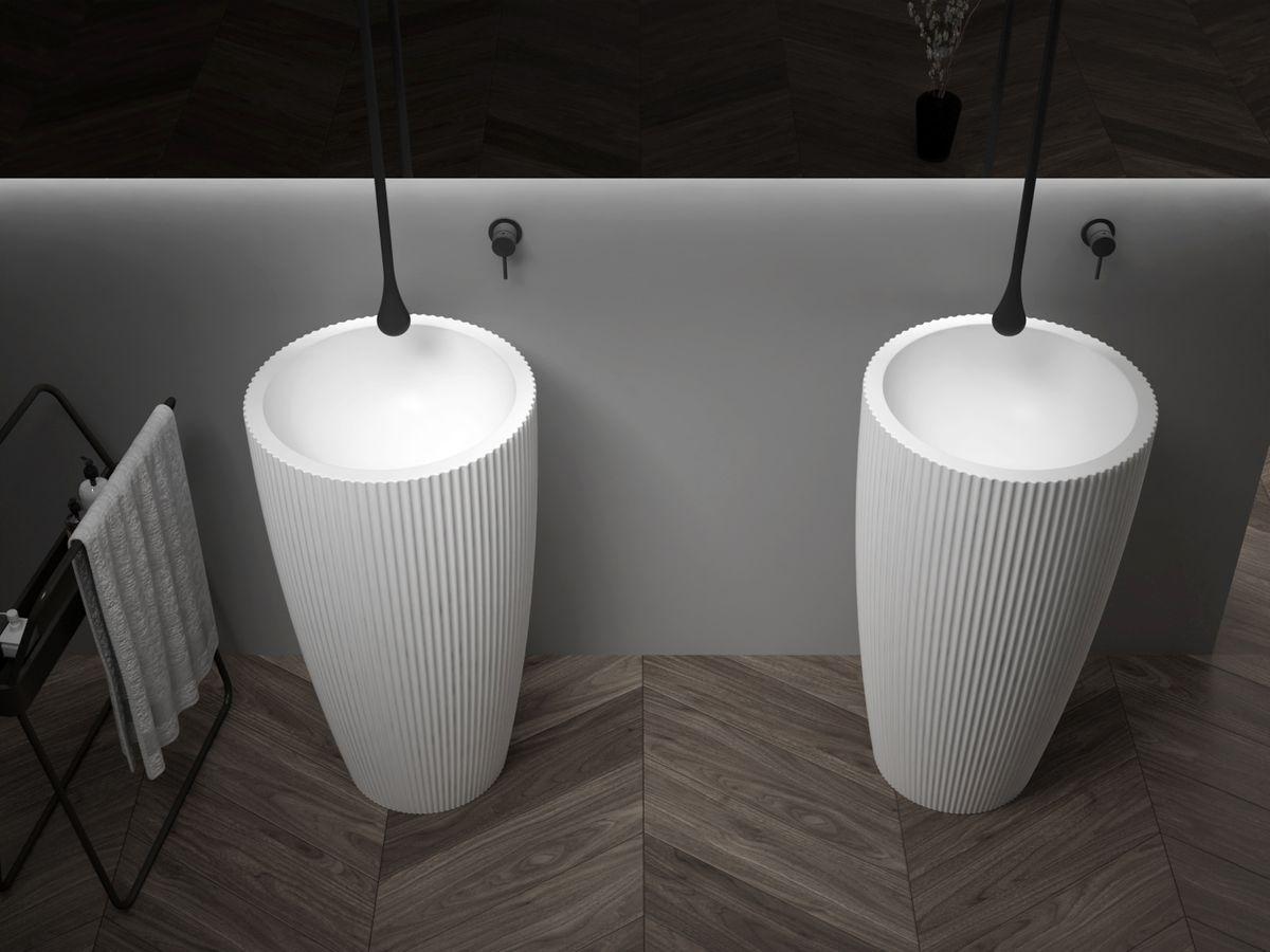 Standwaschbecken aus Mineralguss TWZ316 - 50 x 50 x 90 cm - Farbe wählbar – Bild 3
