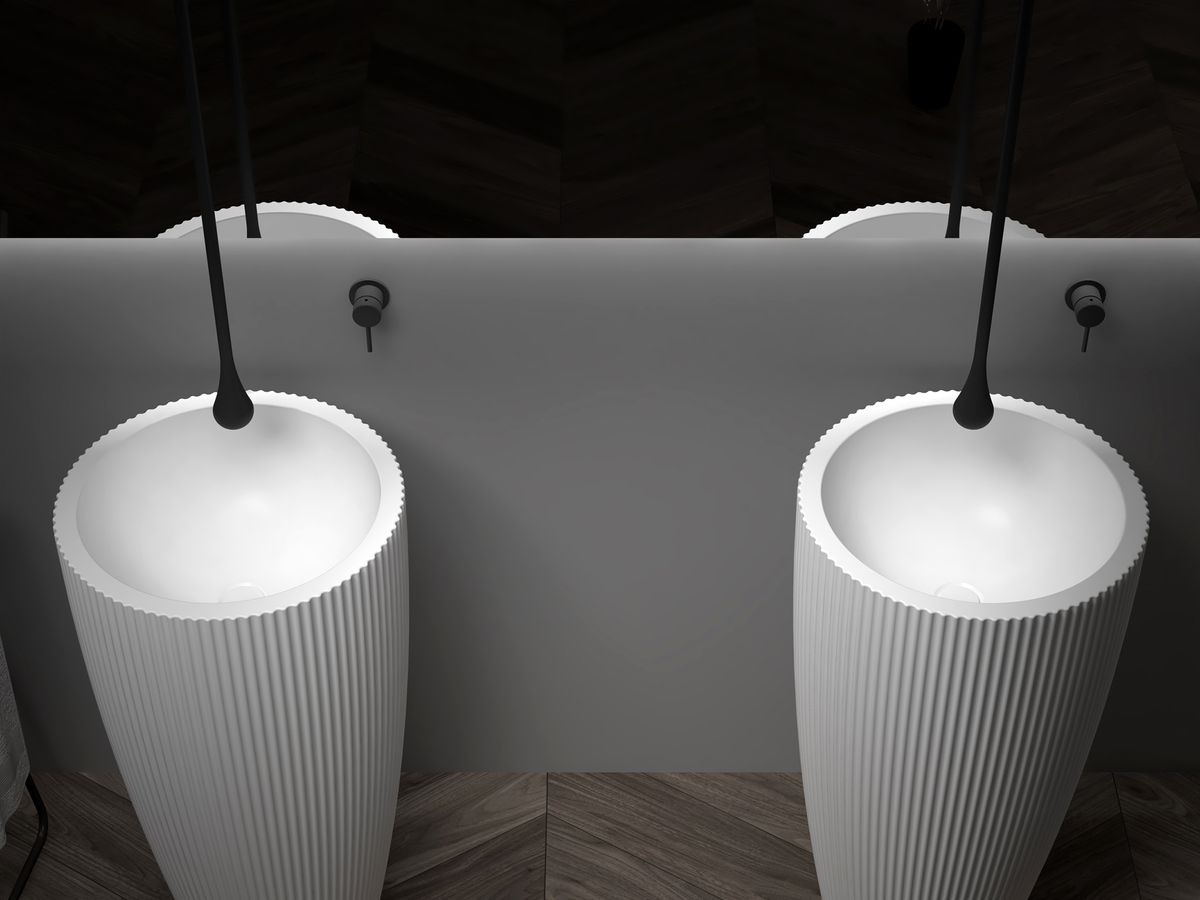 Freestanding Washbasin TWZ316 - Solid Surface - 50 x 50 x 90 cm - available in two colours – Bild 5