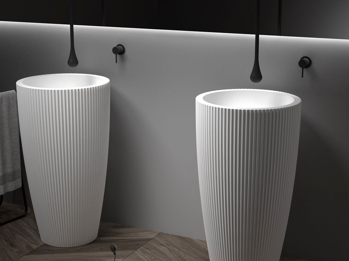 Freestanding Washbasin TWZ316 - Solid Surface - 50 x 50 x 90 cm - available in two colours – Bild 6