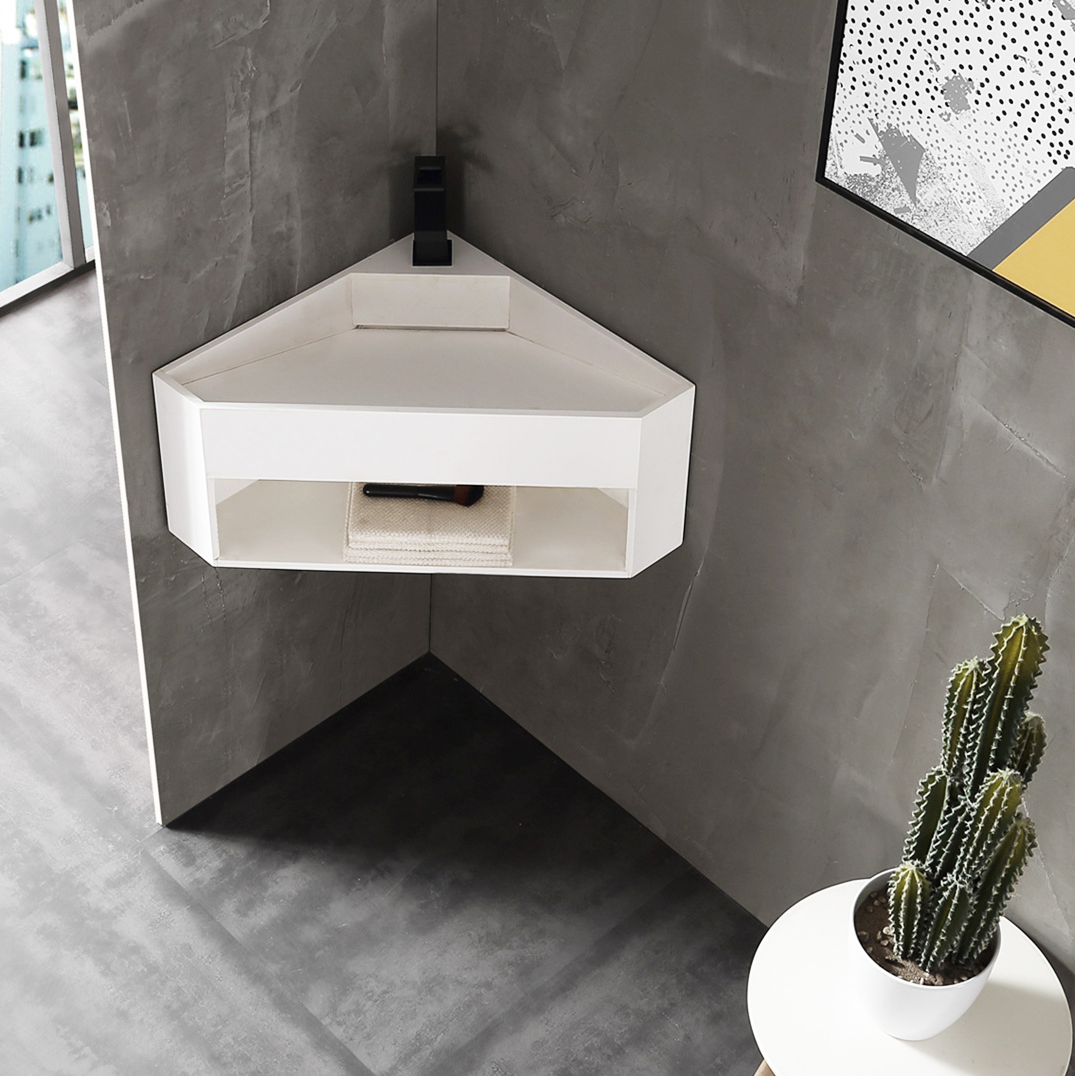 Matt White Wall Mounted Corner Cloakroom Basin TWG70 - Solid Surface - 50 x 50 x 28 cm