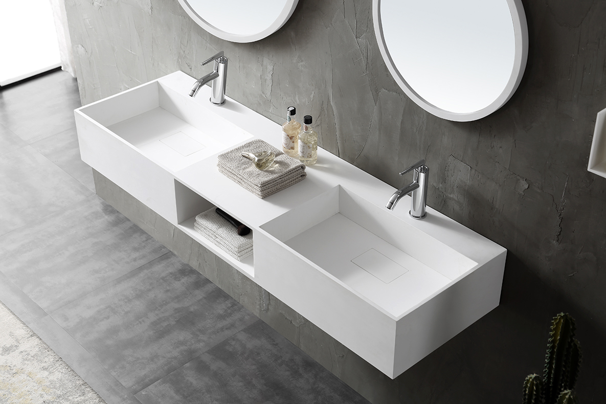 Wall Mounted Double Basin TWG235 made of solid stone - 150 x 45 x 20 cm - matt white