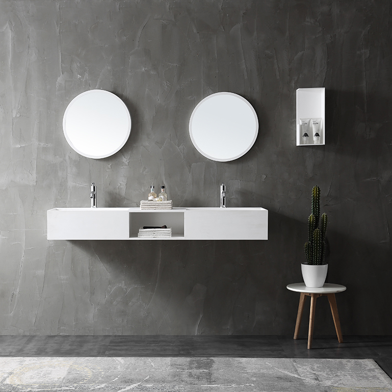 Wall Mounted Double Basin TWG235 made of solid stone - 150 x 45 x 20 cm - matt white – Bild 2