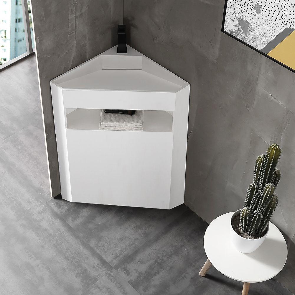 Corner Freestanding Washbasin TWZ70 - Solid Surface - Matt White - 50 x 50 x 90 cm – Bild 1