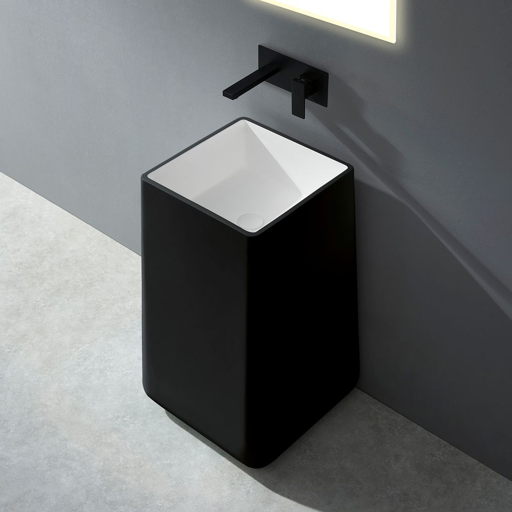 Freestanding Bathroom Basin BA31 - Solid Stone - 50 x 50 x 82 cm - available in different colours – Bild 2